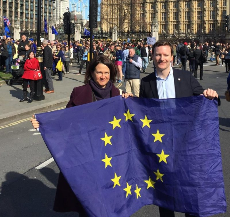 Catherine West MP and Seb Dance in Parliament Square