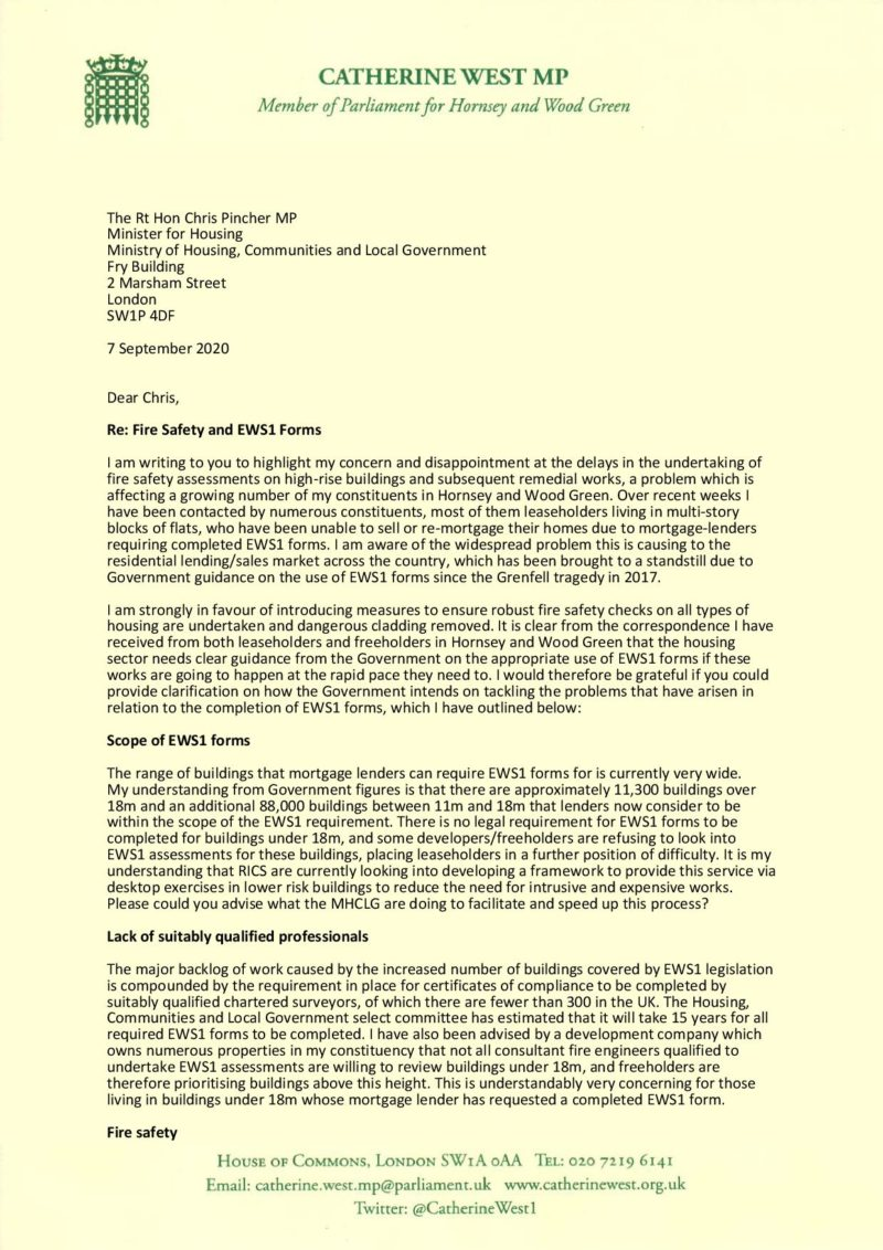 First page - letter to Housing Minister